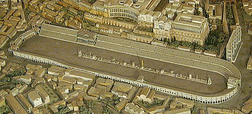 For Latin when it says circus it would actually mean horse racing. This should have been figured out because of the oval shape the arena is in.   http://www.vroma.org/~bmcmanus/circus.html