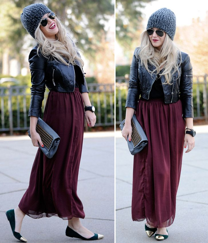 How to wear the city look with maxi skirts | Spotted: Fashion Blogger Andrea from Blonde Bedhead in a bebe Leather ...