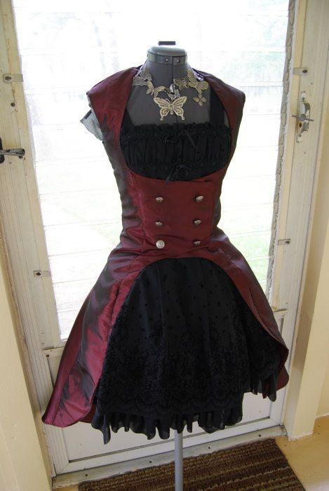 Gothic Lolita Steampunk Victorian Red Taffeta Frock Coat