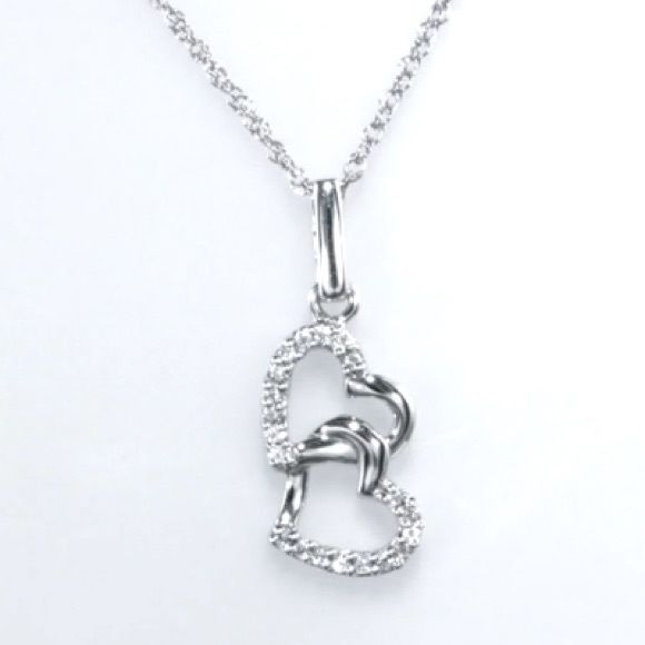 Diamond Hearts Necklace Sterling Silver Interlocked Hearts