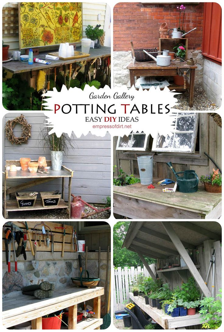Easy DIY ideas for garden potting benches by www.empressofdirt.net/pottingbenches