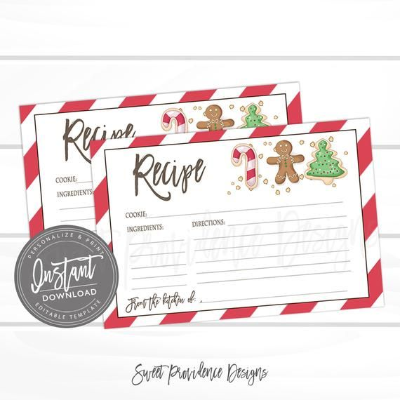 Christmas Cookie Exchange Recipe Card Editable Christmas Recipe Card Template Cookie Exchange Gingerbread Christmas Recipe Instant Download Christmas Recipe Cards Recipe Cards Template Christmas Cookie Exchange