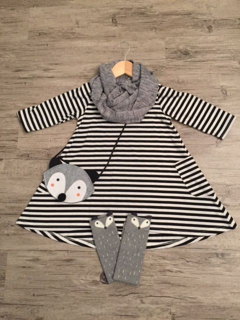 ALWAYS FREE SHIPPING AND TAX INCLUDED- Toddler Striped Dress with Infinity Scarf, Fox Socks and Grey Fox Purse
