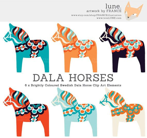 Bright Dala Horse Clip Art. Traditional Nordic Folk Art Designs. Swedish Scandinavian Clipart. Dalahäst/Dalecarlian horse. Commercial Use