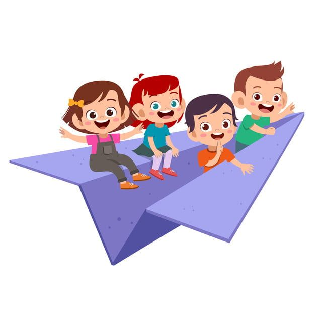 أطفال ركوب طائرة ورقية التوضيح النواقل قصاصات فنية من الأطفال قصاصات فنية للأطفال نشاط Png والمتجهات للتحميل مجانا Kids Vector Paper Plane Kids Clipart