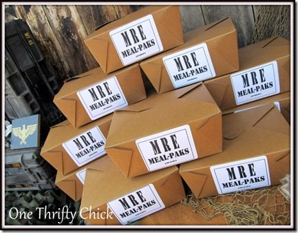 MRE Meal kits: Fun Parties, Thrifty Chick, Lunches Boxes, Parties Ideas, Mre Meals, Meals Kits, Army Birthday Parties, Army Parties, Birthday Ideas
