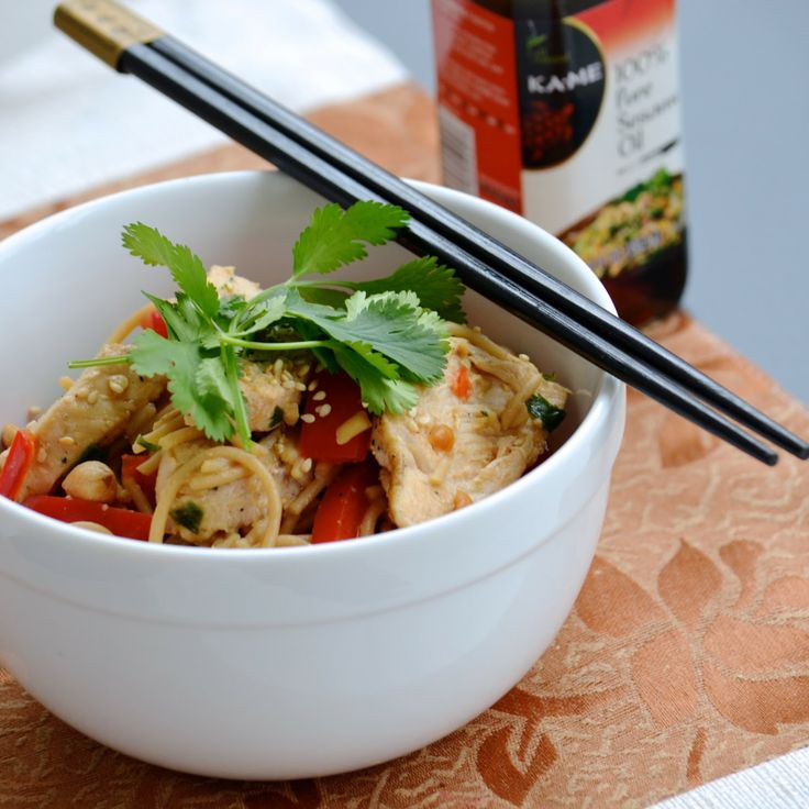 Asian Chicken Noodle Salad with a ginger, soy, sesame and peanut ...