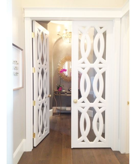 These doors would be incredible between a master bedroom and bath and walk-in closet