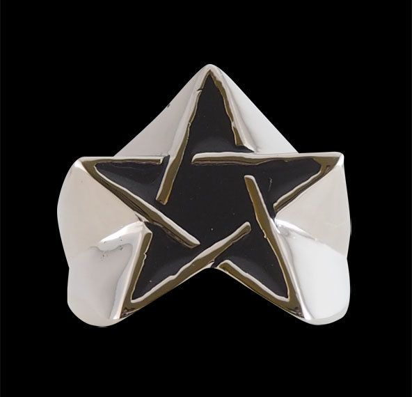 Sterling Silver Star Pentagram Ring with Enamel from Jax Biker Jewellery by DaWanda.com
