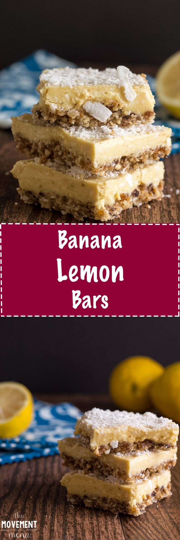 A lemon bars recipe that incorporates bananas and leaves out time in the oven to give you extra time for enjoyment. They're PALEO, vegan & raw. Oh, and they are impossible to put down. TheMovementMenu.com