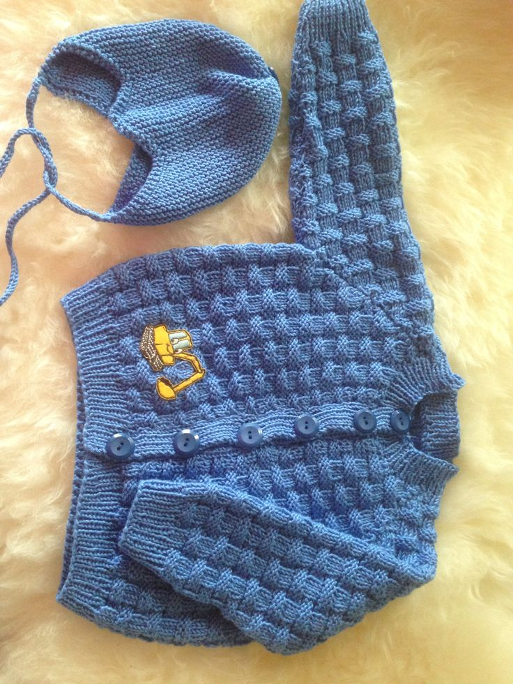 Knitted baby boy cardigan and matching hat