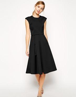 ASOS Midi Dress in Bonded Satin