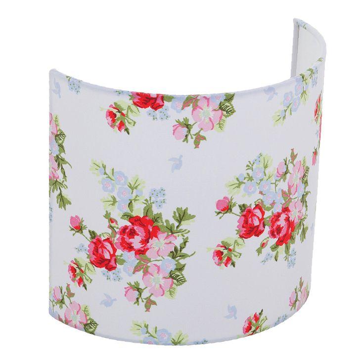 Wandlampe weiß mit rosa Rosen