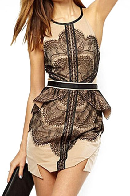 abaday | Cut-out Flouncing Lace Slim Dress, The Latest Street Fashion