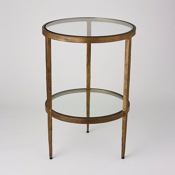 Laforge Two Tiered Side Table Antique Gold Modern End Tables Table End Tables