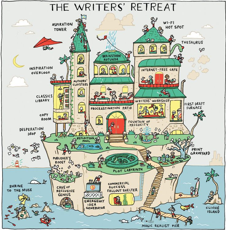 The Writers' Retreat - NYTimes.com | by Grant Snider