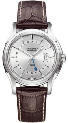 Hamilton Watch American Classic Jazzmaster Traveller GMT #bezel-fixed #bracelet-strap-leather #brand-hamilton #case-material-steel #case-width-42mm #date-yes #delivery-timescale-4-6-weeks #dial-colour-silver #gender-mens #gmt-yes #luxury #movement-automatic #official-stockist-for-hamilton-watches #packaging-hamilton-watch-packaging #subcat-american-classic-jazzmaster #supplier-model-no-h32585551 #warranty-hamilton-official-2-year-guarantee #water-resistant-100m