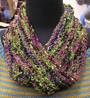 Aria Infinity Scarf 1 - 50g balls of Crystal Palace Aria (shown in colors #101 Tosca and #105 Lucia) Crystal Palace Bamboo Needles in US size 8,