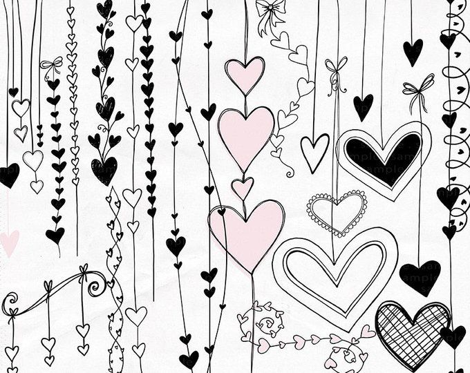 Heart Doodles Clipart Png Printable Valentine Graphics Etsy Heart Clip Art Heart Doodle Clip Art Borders