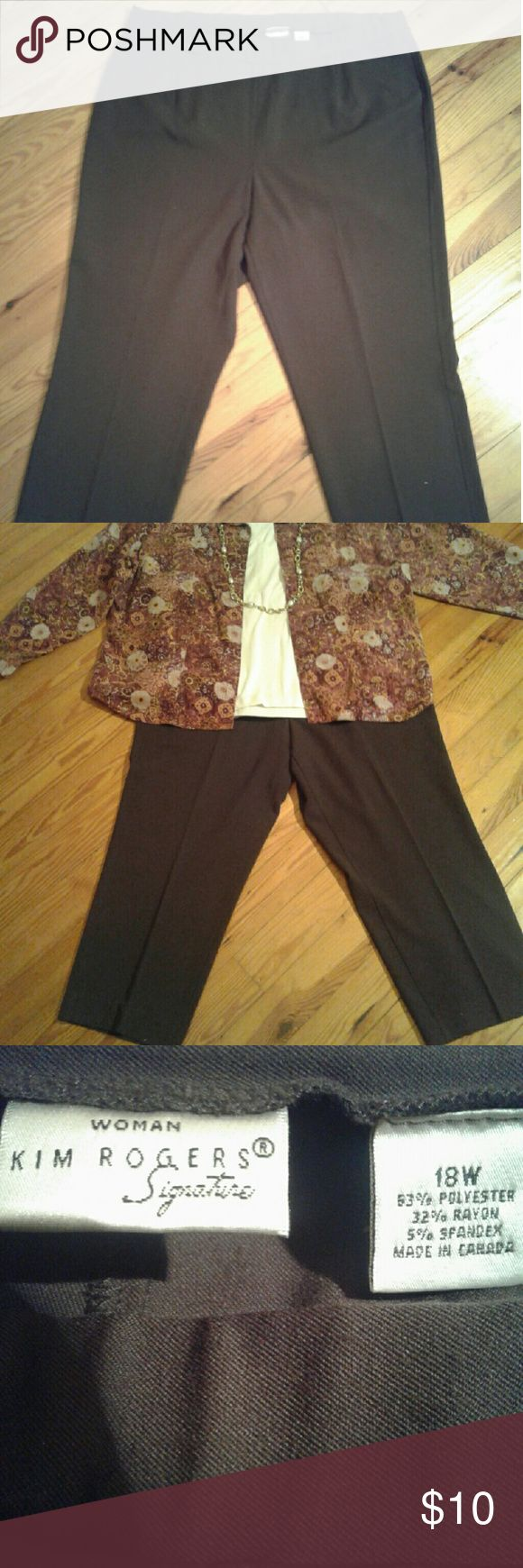 NWOT  PLUS SIZE Kim Roger's  Brown Slacks NWOT PLUS SIZE Kim Roger's  brown slacks with elastic waistband. Size 18. Excellent condition. SOLD AS IS. Kim Roger's  Pants