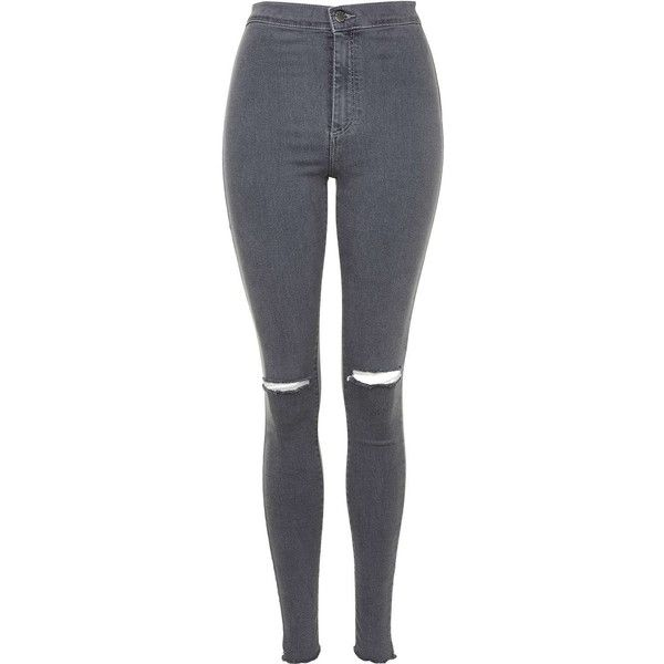 TOPSHOP MOTO Grey Ripped Joni Jeans ($58) ❤ liked on Polyvore featuring jeans, pants, bottoms, pantalones, trousers, grey, ripped skinny jeans, high-waisted skinny jeans, destroyed jeans and high waisted skinny jeans