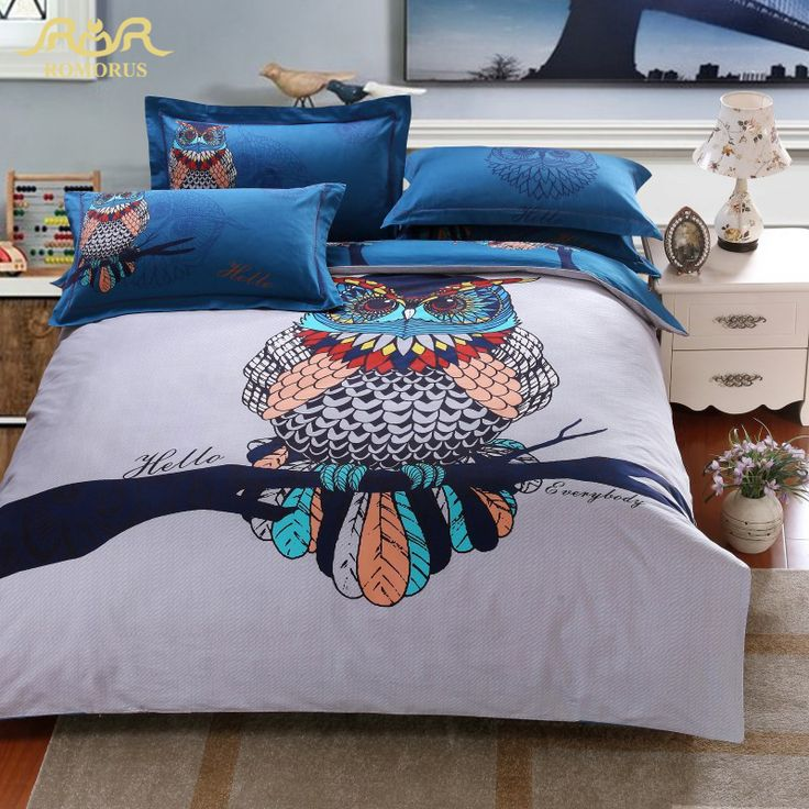 ROMORUS 100% Cotton Owl Cartoon Bedding Sets 4pcs King Queen Size Adult Duvet Cover Bed Linen Sheet Set Bedspread Free Shipping-in Bedding Sets from Home & Garden on Aliexpress.com | Alibaba Group