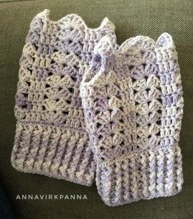 Anna Virkpanna: Springtime torgvantar - free crochet fingerless mitts pattern in English and Swedish.