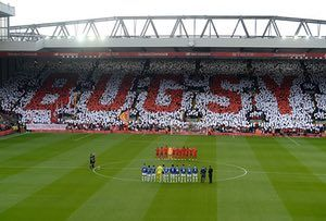 April 1st. 2017: The Liverpool fans pay tribute to Ronnie Moran, known as 'Bugsy', before the match against Everton at Anfield