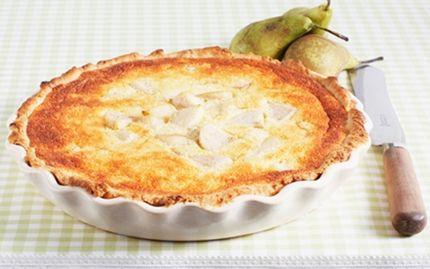 Fransk pæretærte Anderledes pæretærte med en marcipancreme som låg.