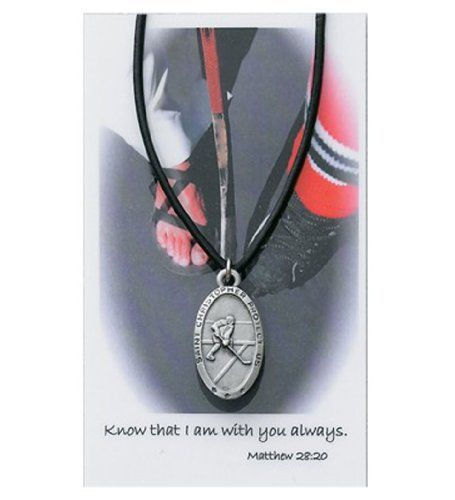 Boys St. Christopher Hockey Medal with Leather Chain with Prayer Card. Amen.