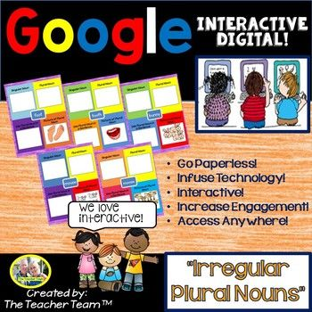 "Google Drive Irregular Plural Nouns for 2nd and 3rd Grade Google Classroom: English Language Arts Literacy, Conventions of Standard English made for Google ClassroomThis Google based resource completely covers CCSS.ELA-Literacy L.2.1.B ""Form and use frequently occurring irregular plural nouns (e.g., feet, children, teeth, mice, fish)"", and CCSS.ELA-Literacy L.3.1.B ""Form and use irregular plural nouns"" Learning and practicing IRREGULAR PLURAL NOUNS , grammar, conventions, and literacy is so…"
