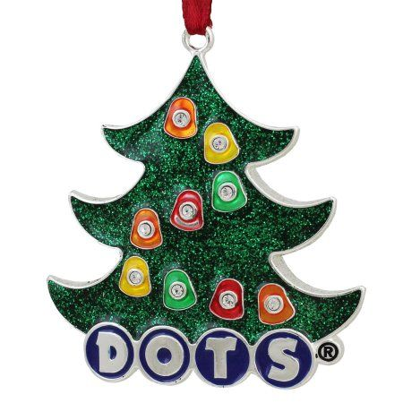 3 inch Silver Plated Dots Candy Logo Christmas Tree Ornament with European Crystals