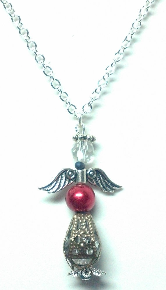 Red Bead Angel Necklace by teresadelosh on Etsy