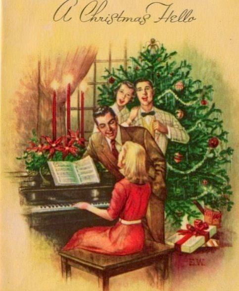 Vintage Christmas card with a family singing carols by the piano and their Christmas tree.