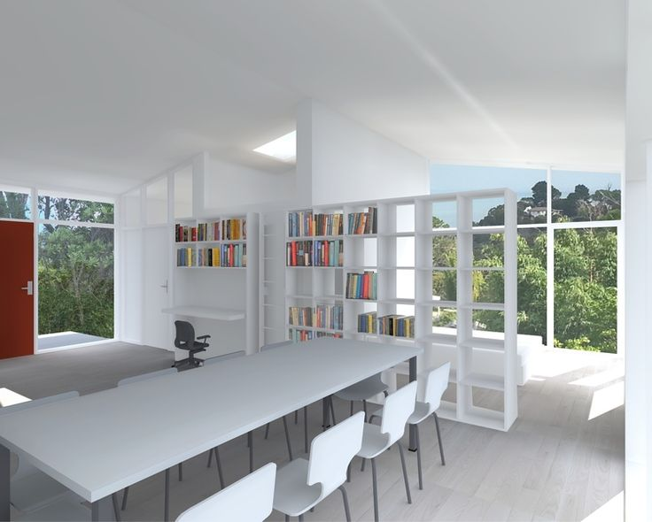 small house - multi-use space with book shelf room divider and 'sleeping pod' reading nook.