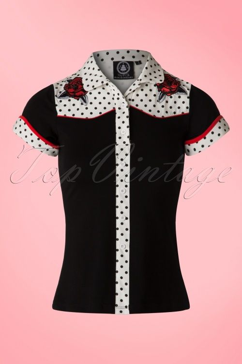 Sugar and Cake - 50s Western Roses Blouse in Black