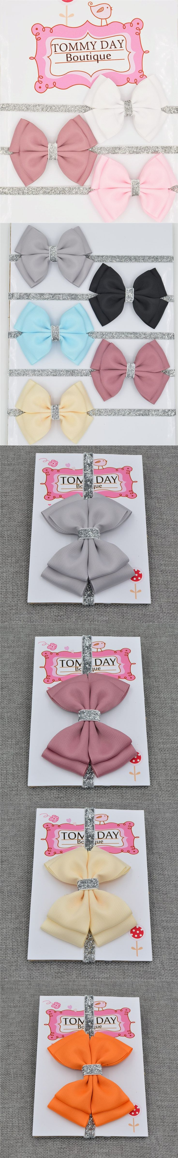 22 color new Baby hair bow flower Headband Silver ribbon Hair Band Handmade DIY hair accessories for children newborn toddler