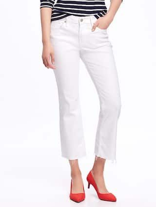Mid-Rise Stay-White Flare Ankle Jeans for Women