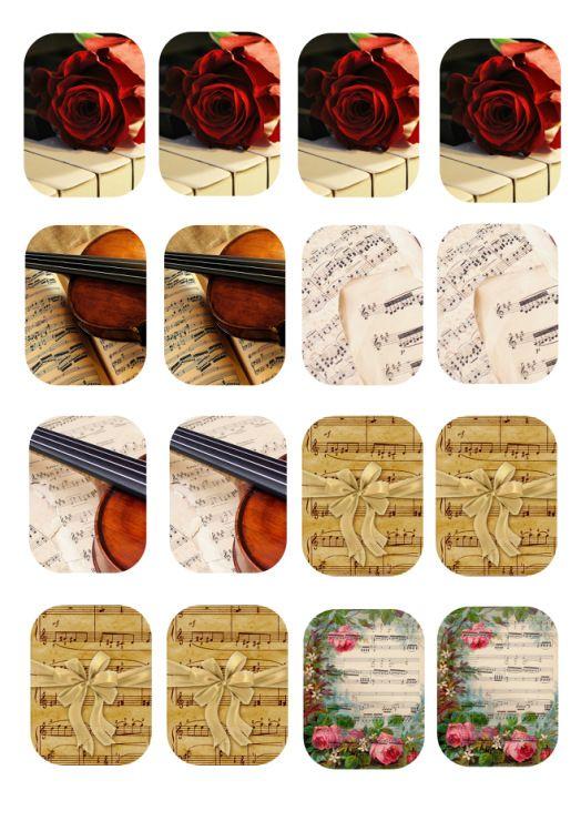 "декупажная карта ""музыка ноты"" а5, картинки 3х4"