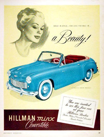 1951 Hillman Minx Convertible original vintage advertisement. Gorgeous…