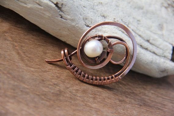 """Shawl pin, copper and pearl shawl pin """"In the frozen air"""", scarf pin, brooch, sweater pin, wire wrap pin"""