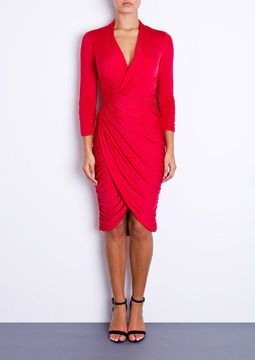 DANA - Red Ruched Dress on shopstyle.co.uk