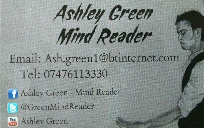 One of the UK's youngest performing mind readers Ashley Green has performed for MP's, TV stars and various companies  To book Ashley Green for your event feel free to contact us