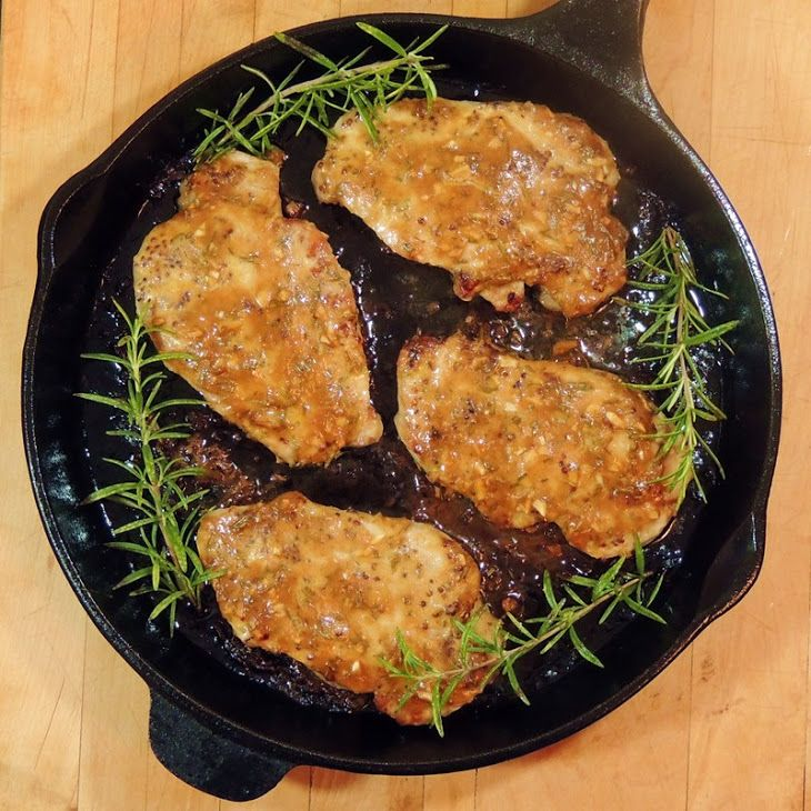 Honey Mustard Pork Chops with Rosemary and Garlic Recipe Main Dishes with center cut pork loin chops, whole grain mustard, olive oil, kosher salt, cracked black pepper, dijon mustard, honey, soy sauce, garlic, fresh rosemary