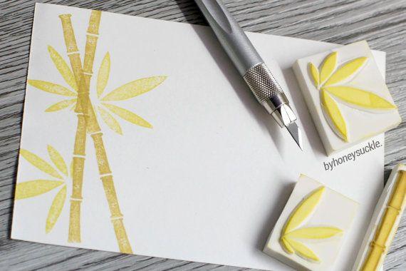 bamboo stamp, decorative chinese bamboo stamp, rubber stamp set, plants stamp, handmade stamp, greeting card stamp, bamboo rubber stamp
