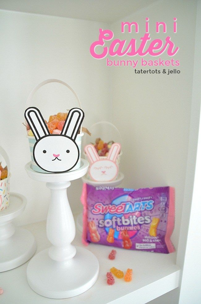 Mini Easter Bunny Baskets. Make affordable bunny Easter baskets filled with chewy Sweetarts treats for friends and neighbors this Spring! #ad