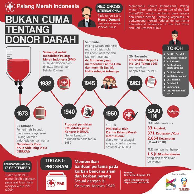 infografis sejarah Palang Merah Indonesia, kolaborasi Poligrabs dan Kompas TV #Poligrabs #infographic #infografis #kompastv #PMI #redcross