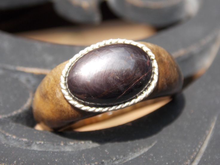 Natural Sapphire stone cabochon on Buckeye Burl wood ring size 9