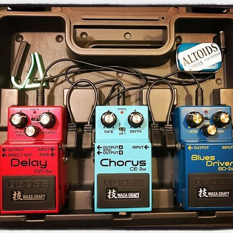 Traveling like a Boss! #bosspedals #wazacraft #dm2w #ce2w #bd2w #bluesdriver #chorus #delay #roland #boss #effects #stompbox #overdrive #guitars #gear #pedalboard #altoids #thanksgiving