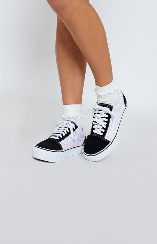 dbf7d9f88b93 Vans Old Skool Platform Sneakers Checkerboard Black   Pink Dogwood ...